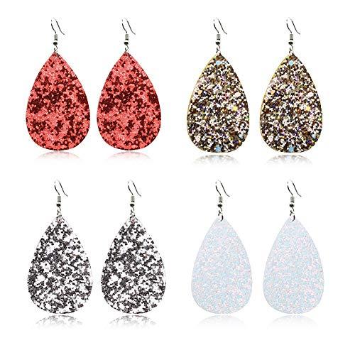 GIMEFIVE 4 Pairs Leather Teardrop Glitter Sequins Earring Lightweight Leaf Drop Bohemian Hollow Earrings for Women Girl (Red+Gold+Silver+White)