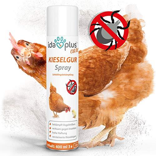 Ida Plus – Kieselgur Milben Spray – 400 ml – Mittel gegen Vogelmilben, Ameisen, Flöhe & Insekten – Insektenspray für den Hühnerstall, Garten & Haus – für Hühner, Geflügel, Kaninchen & Hunde
