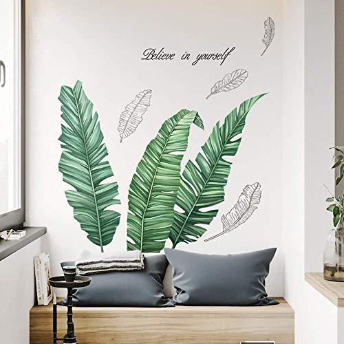 Ins Wandaufkleber Bananenblatt für Schrank, Wohnzimmer, Sofa, Hintergrund, Schlafzimmer, Bett, warme Wanddekoration, selbstklebende Tapete, 90 x 100 cm