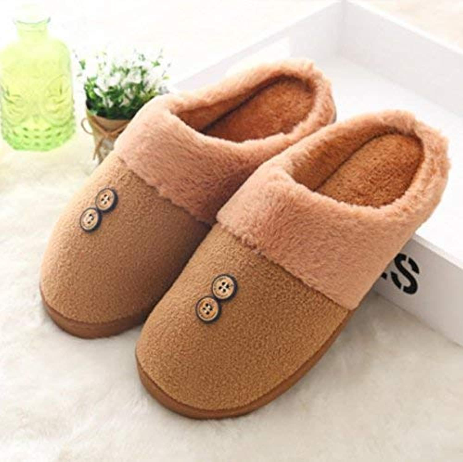 Men 's Home shoes Cotton Slippers Indoor Non Slip Casual Keep Warm Slippers Medium for Men Brown shoes