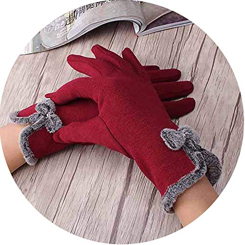 Elegant Frauen Screen Sense Wrist Wrist Gloves Female Bow Fäustlinge Girls Warm Winter Kaschmir Handschuhe, Damen, rot, Einheitsgröße