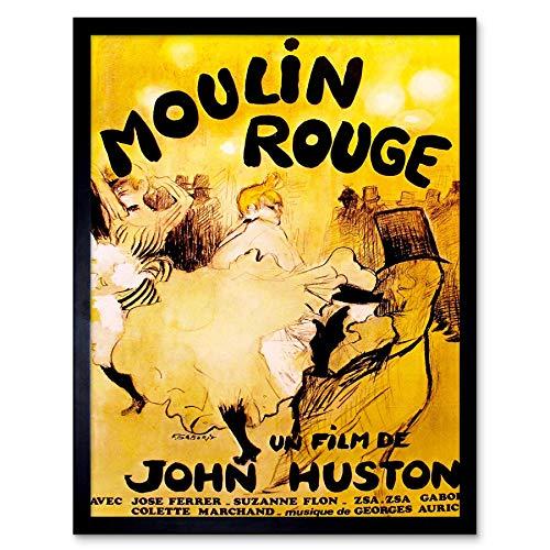 Wee Blue Coo Film Moulin Rouge Cancan Burlesque Parijs Huston Ferrer Gabor Art Print Ingelijste Poster Muurdecoratie 12X16 Inch