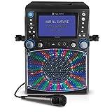 Singing Machine STVG785BT CDG Bluetooth Karaoke Machine con luces de discoteca, un monitor TFT LCD de 7'y 3 x discos CD + G, negro