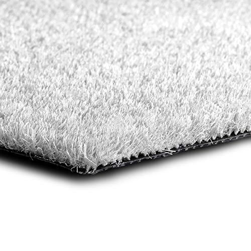 casa pura Kunstrasen Premium Color • Weicher Flor 25 mm • UV-beständig > 6000 h & wasserdurchlässig • Rasenteppich Meterware • Teppichrasen für Balkon, Terrasse, Deko (weiß, 100x100 cm)