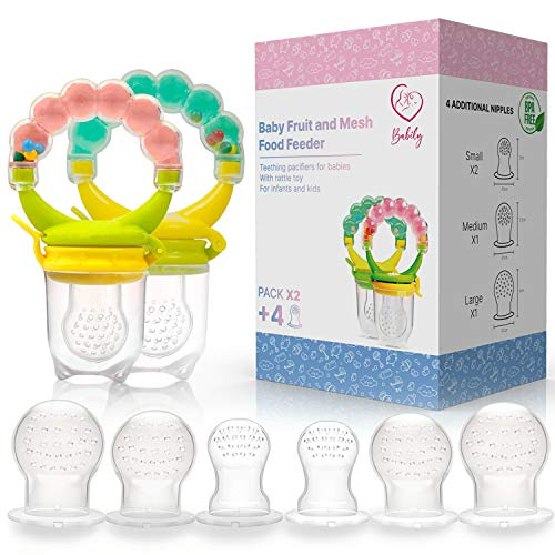 Babily Baby Fruit Feeder (Pack of 2 with 6 Different Sized Nipples) Food Pacifier for Babies with Rattle Toy for Infants and Kids Teething (3 Months - 24 Months) (Green)