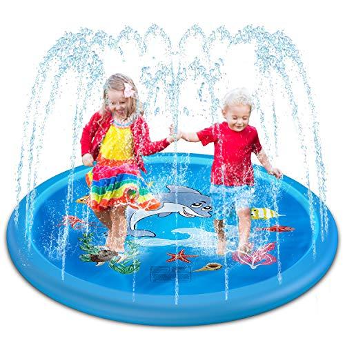Lylidale 170CM Wasser Spielzeug Garten Wasser Spielmatte Sprinkler Kinder Play Matte Spielmatte Sommer Outdoor Spielzeug… (Blau)