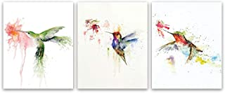 Kairne Watercolors Hummingbird Canvas Wall Art Butterfly Print Bird Poster Room Picture Decor Set of 3 Unframed 8x10 Inch