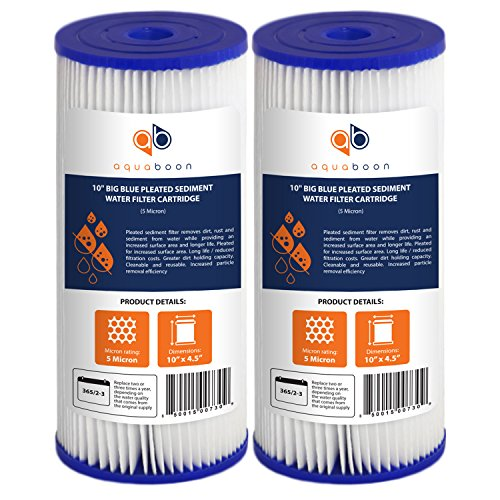 Aquaboon 5 Micron 10' Big Blue Pleated Sediment Water Filter Replacement Cartridge | Whole House Sediment Filtration | Compatible with FXHSC, ECP5-BB, FM-BB-10-5, CP5-BBS, 255490-43, HDC3001, 2-Pack