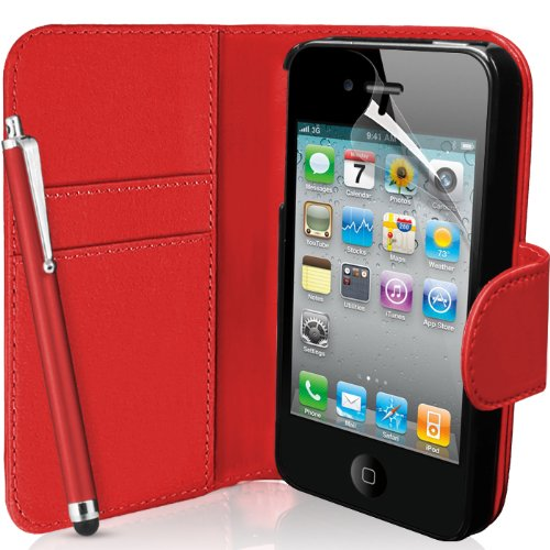 Supergets® Apple iPhone 4 / 4S Red Wallet Case Cover, Screen Protector,...