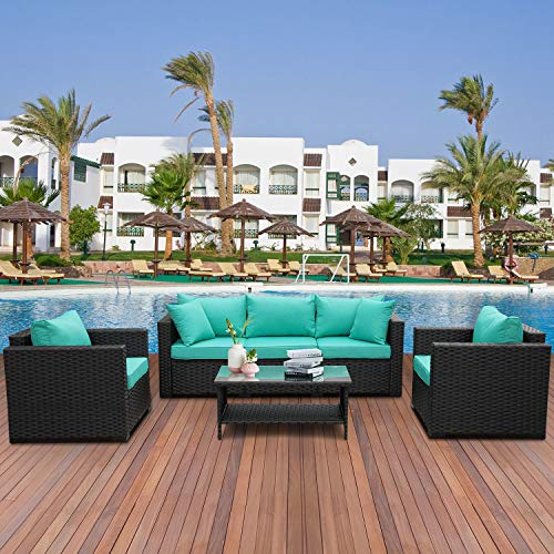 4 Pieces Patio PE Wicker Furniture Set Resin Rattan Outdoor Conversation Sofa Sets Sectional Couch with Table and Turquoise Cushions