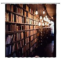 図書館本棚本コレクション浴室の窓の装飾のための生地のホックが付いているポリエステル防水シャワー・カーテン60X72in