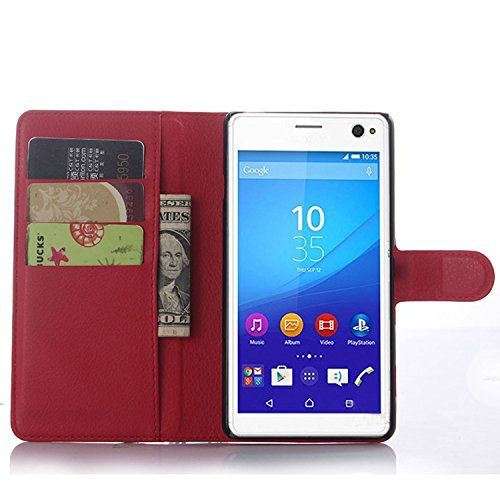 Ycloud Tasche für Sony Xperia C4 Hülle, PU Ledertasche Flip Cover Wallet Hülle Handyhülle mit Stand Function Credit Card Slots Bookstyle Purse Design rote