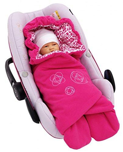 ByBoom® - dekbed voor de overgangsperiode en zomer met modern patroon, universeel voor babyschaal, autostoeltje, bijvoorbeeld voor Maxi-Cosi, Romeinse kinderwagen, buggy of babybed; FUCHSIA/MONSTER