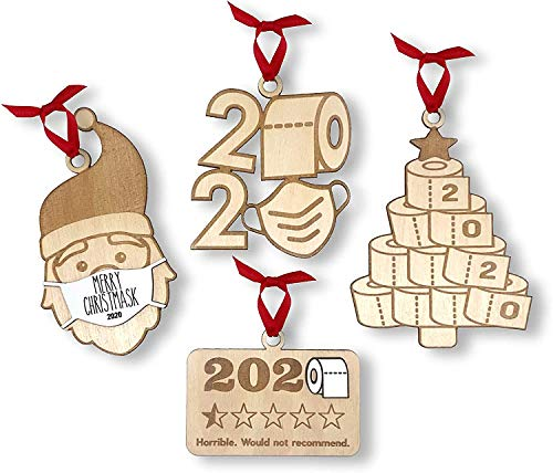 Papivore 2020 Christmas Ornament Quarantine Funny, 2020 Keepsake Ornament, Merry Christmask (Christma'k 4 in 1)