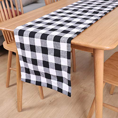 FYJK Table Runner Buffalo Plaid Checkered Dining Table Decor Table Runners for Holiday Birthday Party Table Home Decoration,White+Black