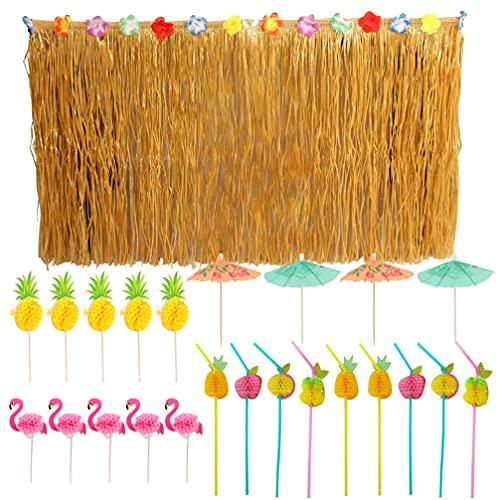 ABOOFAN 1 Juego de Fiesta Hawaiana Tropical Luau Hierba Tabla Falda Hawaiana Fiesta Beber Pajitas Flamenco Y Piña Paraguas Coctail Picks Mesa Falda Conjuntos