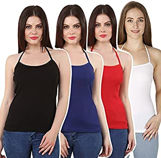 GRAPPLE DEALS Women's Cotton Solid Halter Neck Soft High Fabric Camisole (Multicolour, Large) - Pack of 4