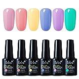 Belen Esmaltes de Uñas Soak off, Esmaltes Semipermanentes de Uñas en Gel UV LED, 6 Colores de...