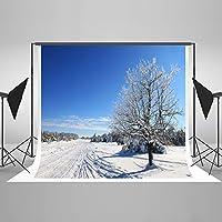 Kate 7x5ft(2.2mx1.5m) 冬の写真撮影背景 雪道路 可洗濯 折りたためる 背景布 撮影用 写真撮影