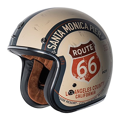 TORC unisex-adult open-face style T50 Route 66 3/4 Helmet Graphic (Flat White PCH, Large)