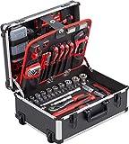 Meister Werkzeugtrolley 238-teilig - Werkzeug-Set - Mit Rollen - Teleskophandgriff / Profi Werkzeugkoffer befüllt / Werkzeugkiste fahrbar auf Rollen / Werkzeugbox komplett mit Werkzeug /...