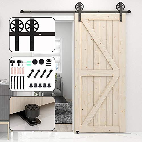 TSMST 5FT/152CM Herraje para Puerta Corredera Kit de Accesorios para Puertas Correderas con Guía de Piso Deslizante Ajustable-Rueda Grande-J Estilo