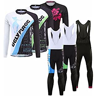 Uglyfrog 2017 New Autumn Women's Long Sleeves Cycling Jerseys + BIB Trousers Road Bike Clothing Road Bike Clothing CXHB06:Deepld