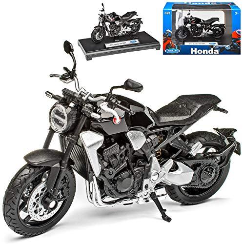 Hon-da CB1000R Schwarz Modell Ab 2008 Version Ab 2018 1/18 Welly Modell Motorrad mit individiuellem Wunschkennzeichen