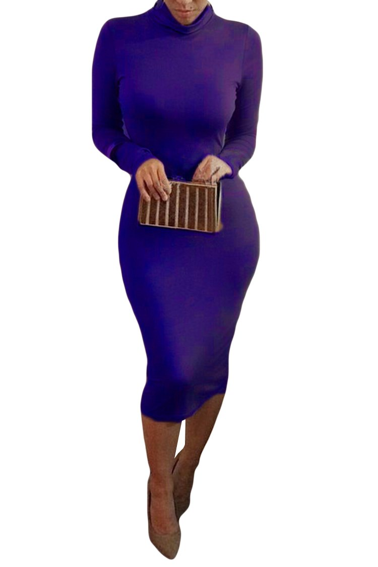 Available at Amazon: Pink Queen Women's Turtleneck Long Sleeve Bodycon Midi Sheath Dress