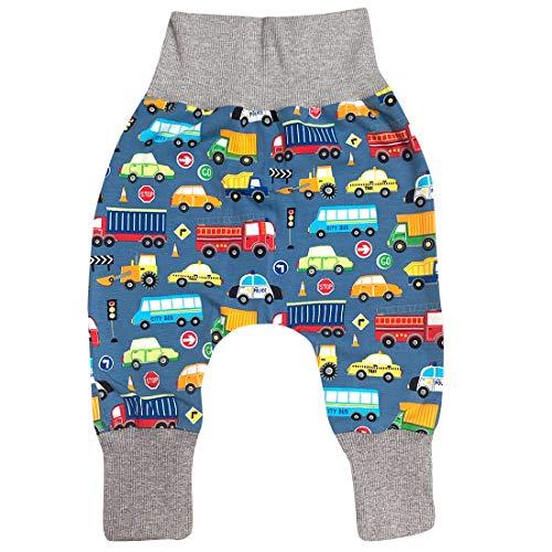 Wollhuhn ÖKO Jungen Lässige Bequeme Autos Babyhose/Mitwachshose/Pumphose/Jogginghose Blau/Bunt 20181215 (92, Autos Jeansblau)