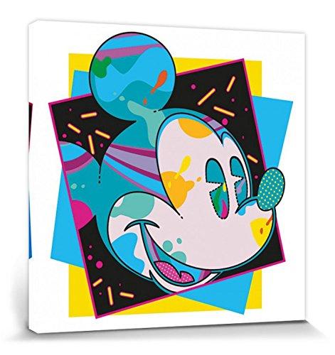 1art1 Mickey Mouse Poster Reproduction sur Toile, Tendue sur Châssis - Portrait Artistique Disney, Miami (40 x 40 cm)
