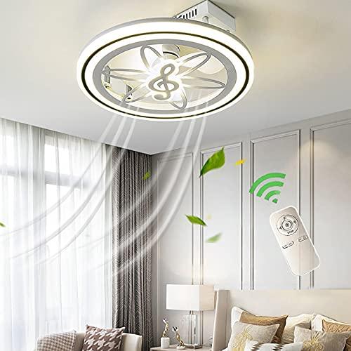 Ventiladores De Techo Con Luz Silencio, Ventilador Techo Con Mando A Distancia, Ventilador Plafon Luces LED Dimable, Lámparas Ultra-Delgado Modernas Para Dormitori, Velocidad Del Viento Regulable