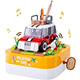 LIGHTDESIRE Musical Building Blocks for Kids, Colorful Building Music Boxes Rotating Car Wheels, Preschool Education Age 4-8 and up, Desktop Decoration Birthday Gifts for Girls Boys