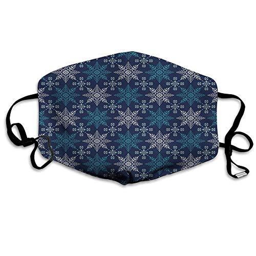 Bequeme Winddichte Maske, Schneeflocke, Winterferien-Thema 8-Punkt-Stern-Weihnachtsmuster, Seegrün Dunkelblau Hellblau