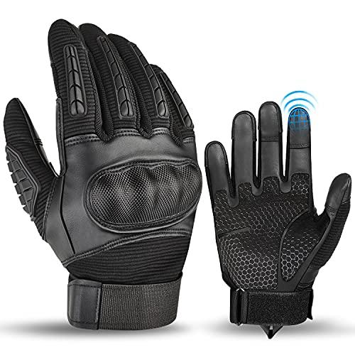 BTNEEU Motorrad Handschuhe für Herren, Vollfinger Handschuhe Sport Handschuhe mit Touchscreen Hard Knuckle Handschuhe für Motorrad Mountainbike Motocross Camping Klettern (Schwarz, XL)