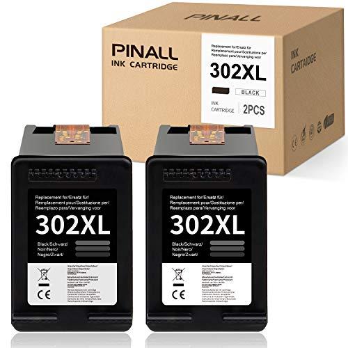 PINALL Remanufacturado HP 302 XL 302XL Cartuchos de Tinta Reemplazo para Compatible con HP Deskjet 1110 HP Deskjet 2130 3630 AIO HP Officejet 3830 4650 AIO HP Envy 4510 4512 4520(2X Negro