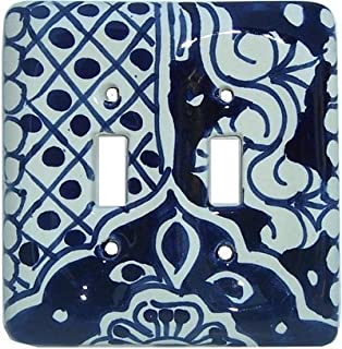 Fine Crafts Imports Double Toggle Traditional Talavera Ceramic Switch Plate