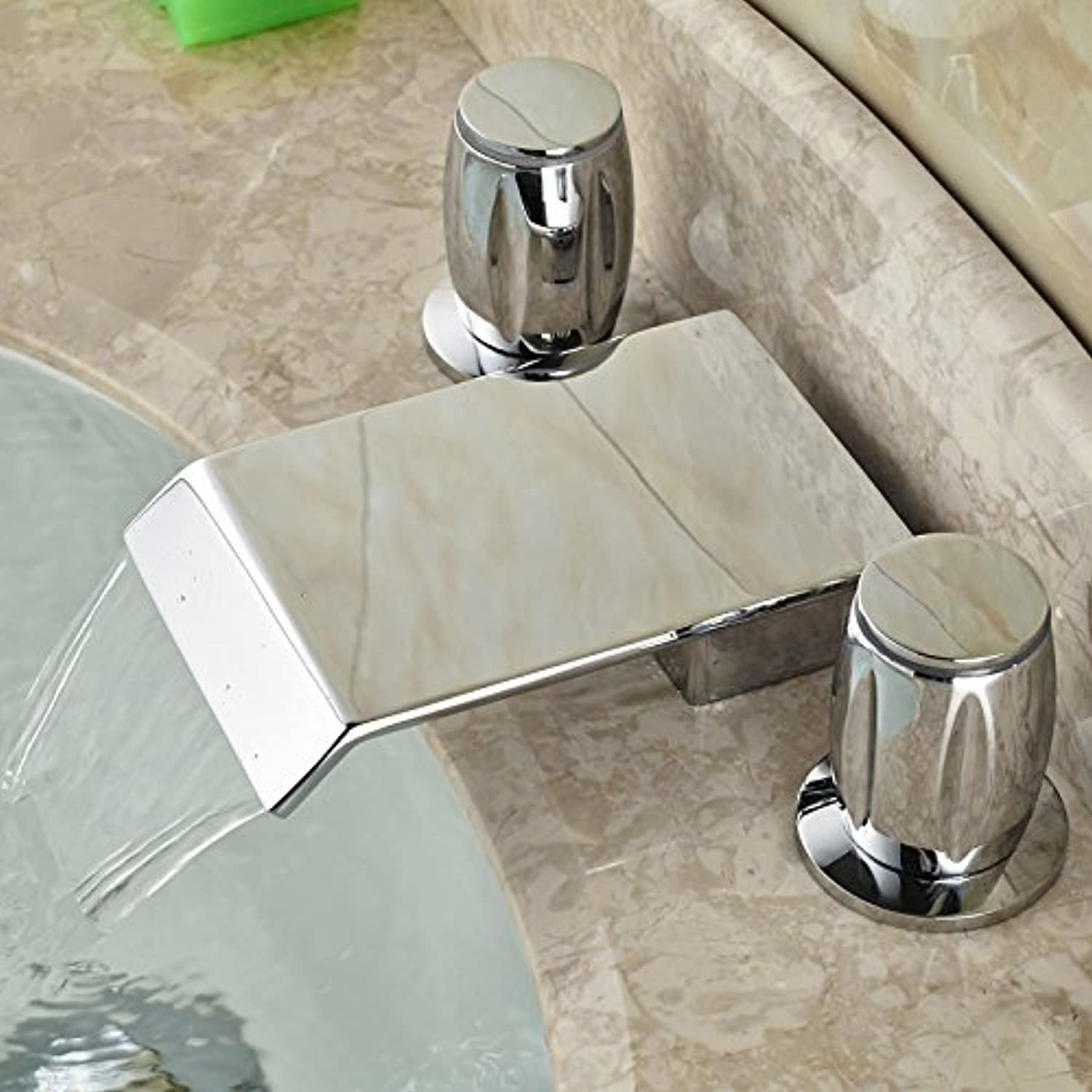 U-Enjoy Brass Chrome Widespread Top Quality Two Handles Water Taps Deck Mounted 3 Install Holes Bathroom Lavatory Sink Mixer Faucet (Free Shipping)