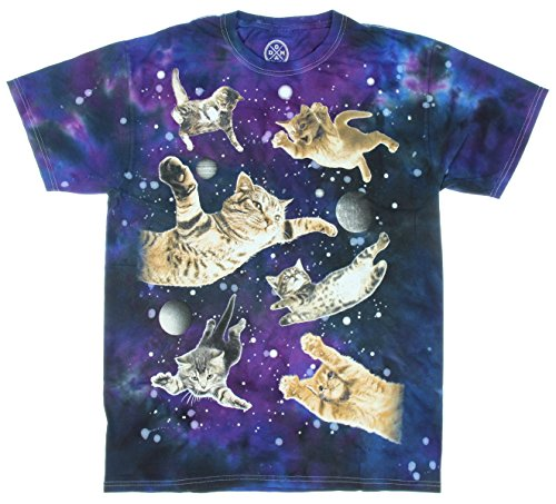 ODM Ninja Kitty Cats Flying in Space T-Shirt (Small)