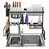 LANGRIA Dish Drying Rack Over Sink Stainless Steel Drainer Shelf, Professional 2-Tier Utensils Holder Display Stand for Kitchen Counter Organization, Fully Customizable, 25.6 Inches Width (Black)