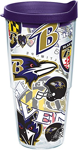 Tervis NFL Baltimore Ravens All Over Tumbler with Wrap and Royal Purple Lid 24oz, Clear