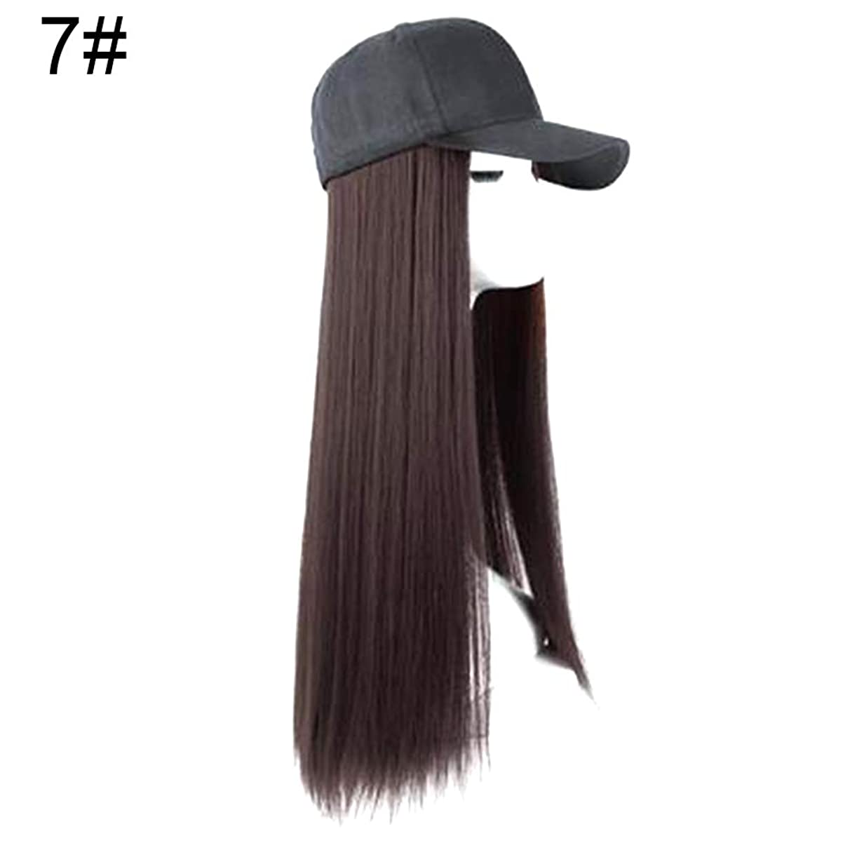 気がついて割る高原slQinjiansav女性ウィッグ修理ツールクリエイティブ女性2で1長いストレートカーリーヘアウィッグヘアピースと野球帽