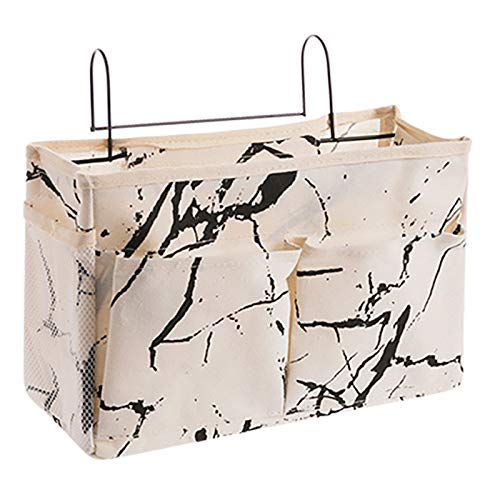 Parshall Hanging Storage Bags Bedside Hanging Storage Bags Multifunction Organizer Holder for Books Mobile Phones, White marble