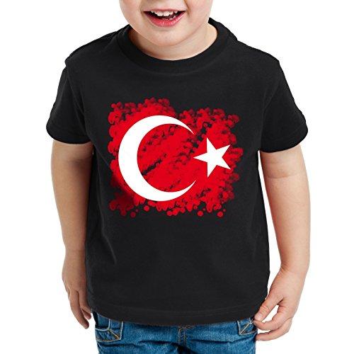 CottonCloud Türkei Kinder T-Shirt Turkey Türkiye Flagge Mondstern, Farbe:Schwarz, Größe:116