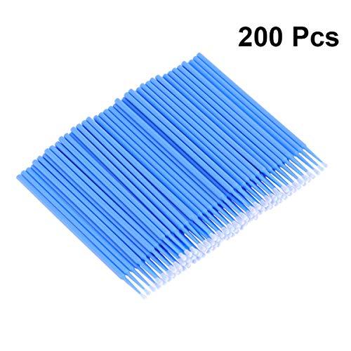 Frcolor 200pcs micro applicateur brosses extension de cils coton tige mascara brosse brosses baguettes bleu