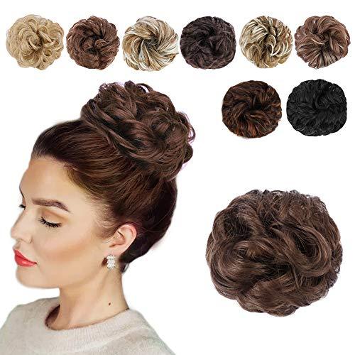 HANYUDIE Messy Hair Bun Hair Piece Synthetic Messy Curly Hair Scrunchies Hair Bun Extensions for Women (Natural Black)