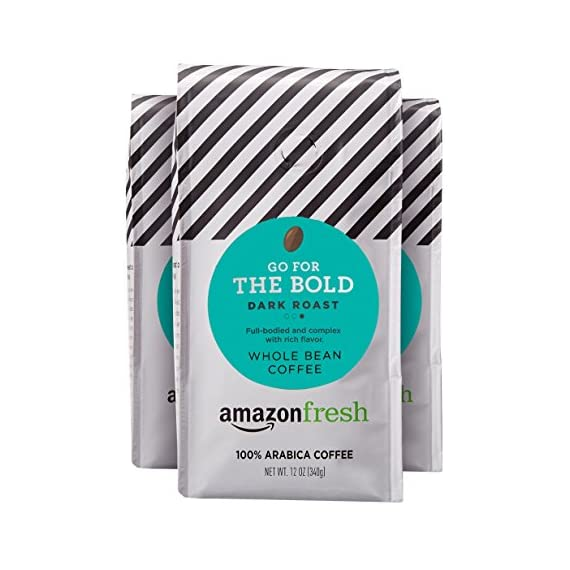 AmazonFresh Dark Roast Whole Bean Coffee, 12 Ounce (Pack of 3) 1 Dark roast coffee with mild finish Three 12-ounce bags of whole bean coffee 100% Arabica coffee grown in Central and South America