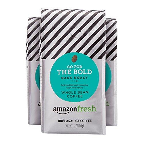 AmazonFresh Dark Roast Whole Bean Coffee, 12 Ounce...