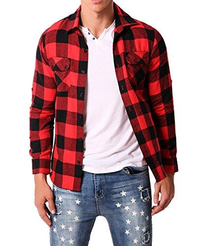 MODCHOK Homme Chemise à Manches Longues Plaid à Carreaux Shirt Casual Poches - Rouge Noir- XXL
