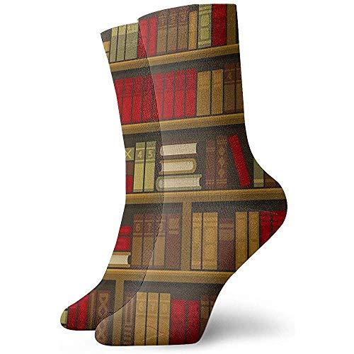 Novedad divertido Crazy Crew calcetín biblioteca libro estante impreso deporte atlético medias 30 cm calcetín para hombres mujeres